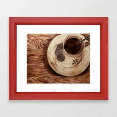 coffee on a cold day Framed Art Print