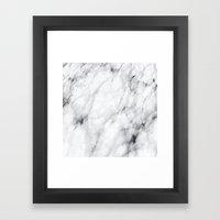 White Marble Framed Art Print