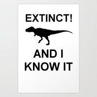 Extinct T-Rex Art Print