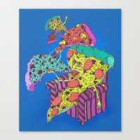 Pizza Eating Pizza - Blu… Canvas Print