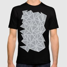 Shattered Ab Grey and White  SMALL Mens Fitted Tee Black