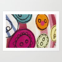 Embroidered Buttons Pink Art Print