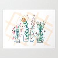 Flowers. Vase, illustration, art, print, pattern, nature, floral, still life, Art Print
