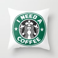 Throw Pillow featuring I Need A Coffee! by John Medbury (LAZY J…
