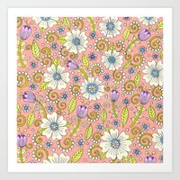 Peach Floral Pattern Art Print