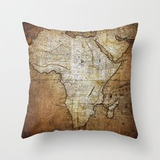 Vintage Africa Map Throw Pillow