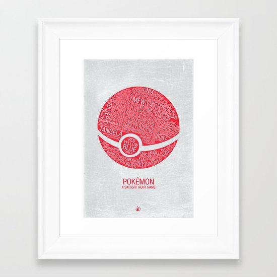 Pokemon Typography Framed Art Print