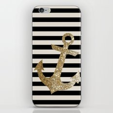 GOLD GLITTER ANCHOR IN BLACK AND NUDE iPhone & iPod Skin