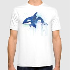 Killer Whale Orca Watercolor Painting Animal Art Mens Fitted Tee White SMALL