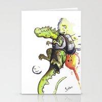 Dinosaur wearing Jetpack Stationery Cards
