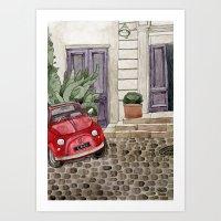 Red Beetle Car Art Print