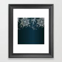 Zendala Snowflake Denim Framed Art Print