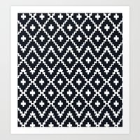 southwest diamonds _ black on white Art Print