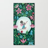 Mouse Amongst The Flower… Canvas Print