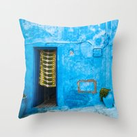 Moroccan House with Blue Wall and Green Curtain. Throw Pillow