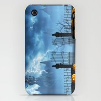 iPhone Cases featuring Halloween pumpkins next to a gate of a spooky castle by Sara Winter