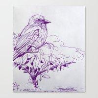 Purple Ink Bird Canvas Print