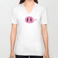 Happy Pig Minimalist Unisex V-Neck