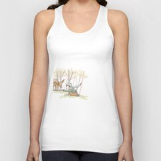 An Autumn Fall Scene - A Fawn and a Young Boy Unisex Tank Top