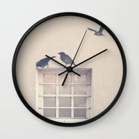 Let me be a bird in your window - vintage retro, beige cream, urban, black and white photography Wall Clock