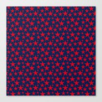Red stars on bold blue background illustration Canvas Print