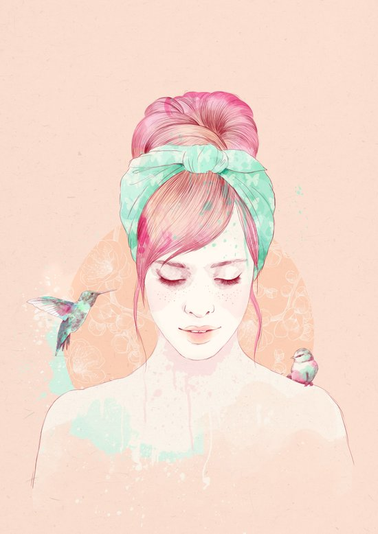 Pink hair lady Canvas Print