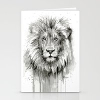 Lion Watercolor Black and White Animal Portrait Stationery Cards