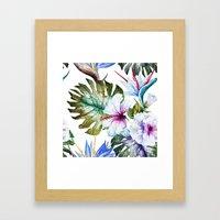 Watercolor Tropical Hibiscus Framed Art Print