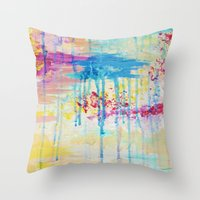 BRIGHTER DAYS - Beautiful Soft Pastel Colours Painting Rain Cloud Sunny Sky Abstract Nature Acrylic Throw Pillow