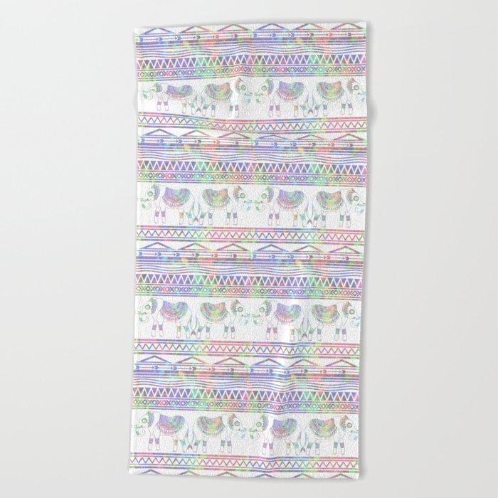 pastel elephant tribal pattern beach towel