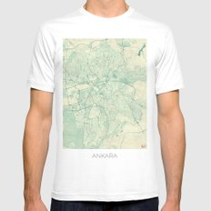 Ankara  Map Blue Vintage Mens Fitted Tee White SMALL