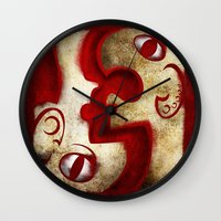 Red Digital Engraving Twin Faces Wall Clock