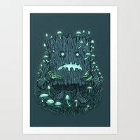 The Fungus Log Art Print