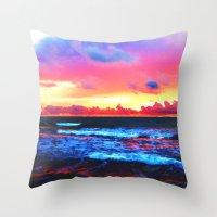 Scenic Shoreline Sunrise Throw Pillow