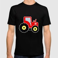 Red toy tractor Mens Fitted Tee Black SMALL