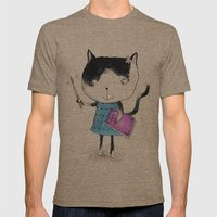 Creative Mono Cat  Mens Fitted Tee Tri-Coffee SMALL