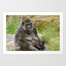 Gorilla Mother and Baby Art Print