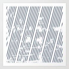 Grunge Blue stripes on white background illustration Art Print