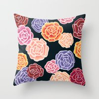 Rosy Days Throw Pillow