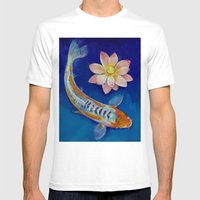 Koi Fish And Lotus Mens Fitted Tee White SMALL