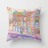 Wandering Amsterdam - Colored Pencil Throw Pillow