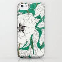 iPhone 5c Cases featuring green peonies by Marcella Wylie