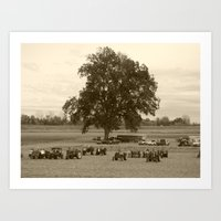 The Tractors And The Tre… Art Print