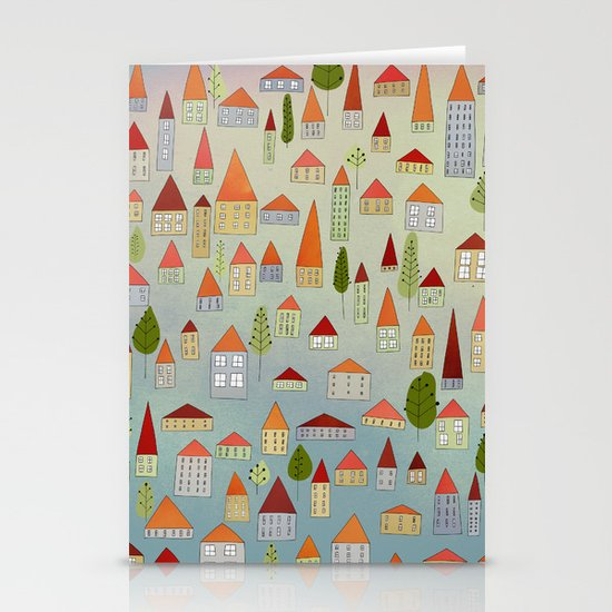 100 little houses Stationery Card