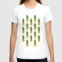 Pineapple Pattern Womens Fitted Tee White SMALL