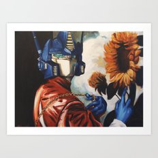 Optimus Prime With Sunflower Art Print