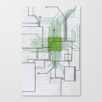 Circuit board green Canvas Print