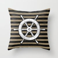 ship wheel Throw Pillow