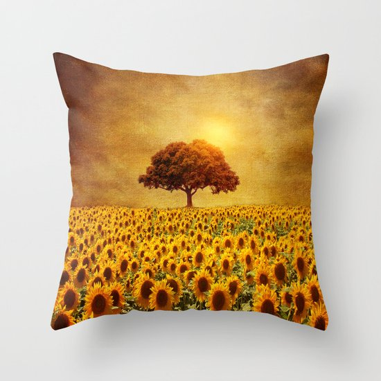 lone tree & sunflowers field (II) Throw Pillow