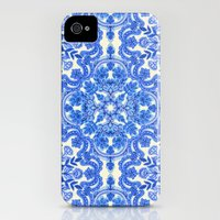iPhone 4s & iPhone 4 Cases featuring Cobalt Blue & China White Folk Art Pattern by micklyn